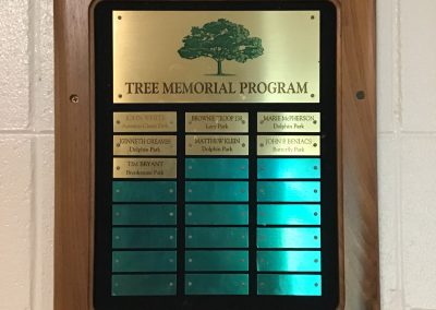 Tree Memorial Program Plaque